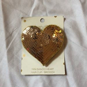 Mini Ban.do Heart Hair Clip, Rose Gold